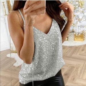 Silver sparkle and shine tank.  NWT
